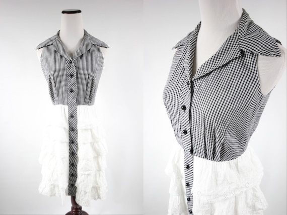1950's Cotton Gingham Sleeveless Eyelet Ruffle Dre