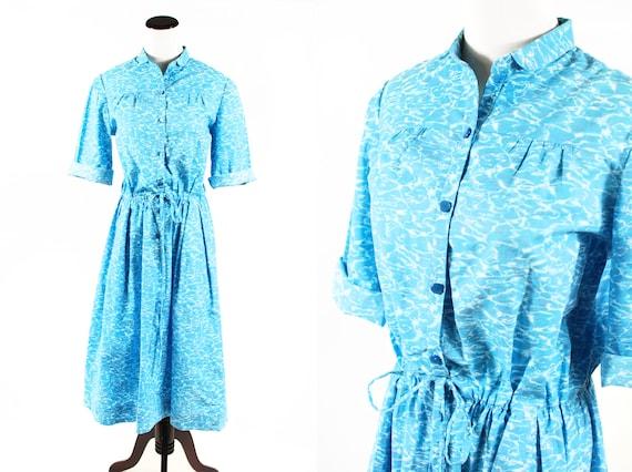 1950's Water Novelty Print Cotton Half-sleeve Shir
