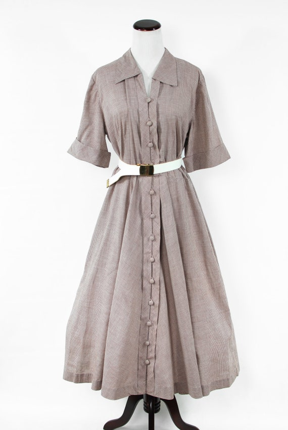 1950's Brown Gingham Cotton Short-sleeve Shirtdre… - image 2