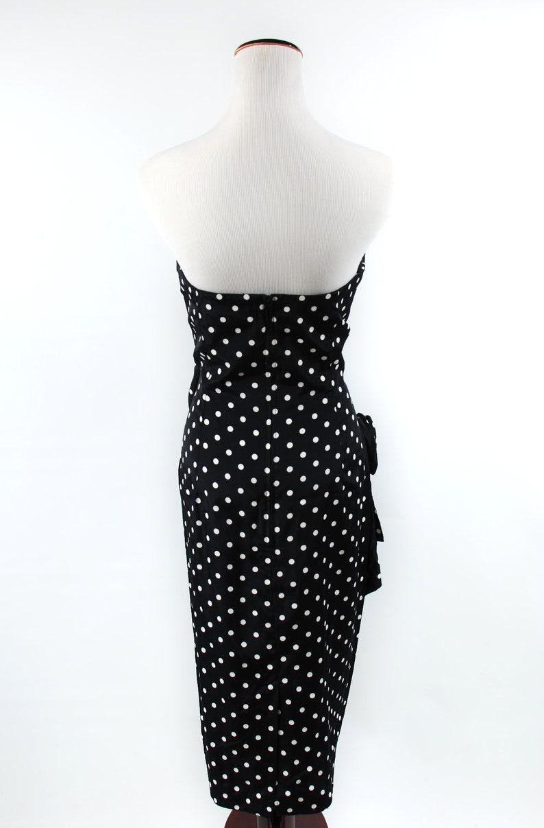 1980/'s Black Polka-dot Strapless Sarong Sweetheart Rose Dress