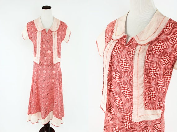 1920's Red Checkered Jacket Dress