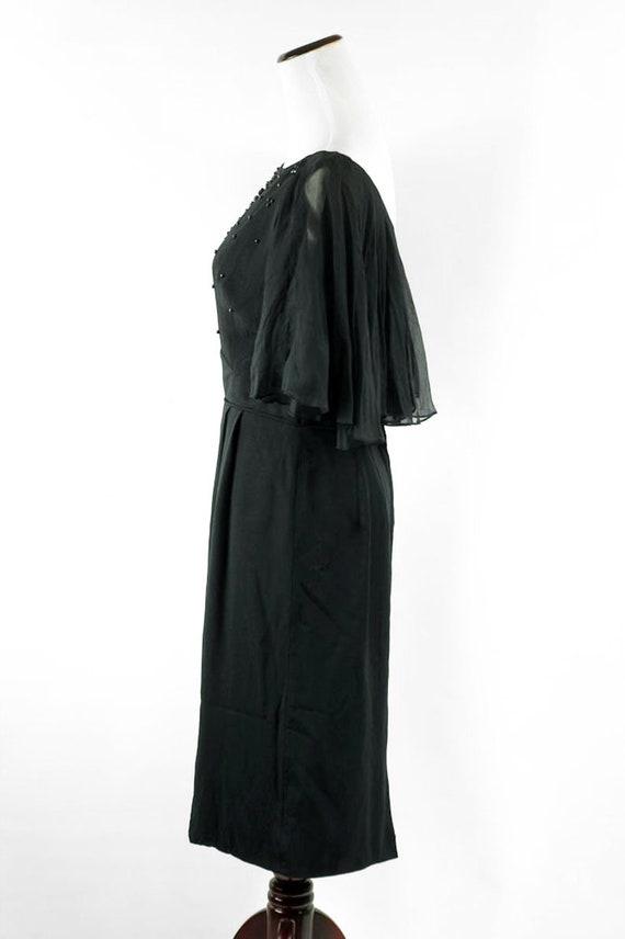 1960's Black Beaded Flutter Sleeve Party Dress - image 3