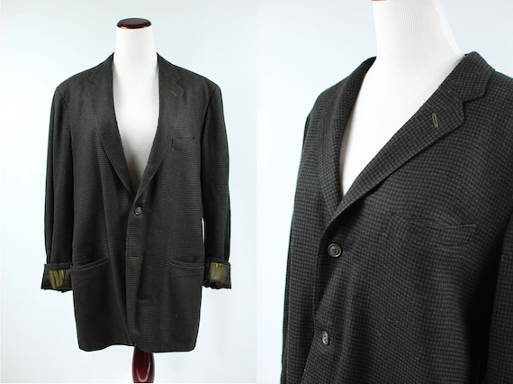1950's Olive Houndstooth Wool Suit Jacket