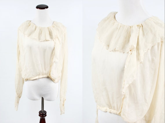 1920's Ivory Silk Sheer Long-sleeve Asymmetrical R