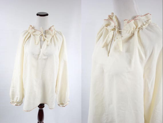 1970's Ivory Cotton Embroidered Peasant Long-sleev
