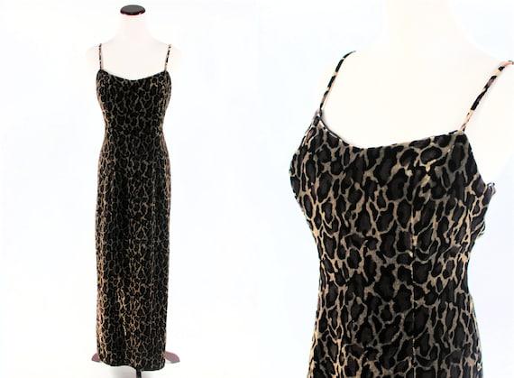 1990's Silk Velvet Leopard Print Spaghetti-strap M