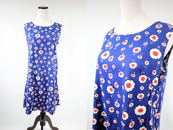 1960's Mod Blue Cotton Daisy Print Mini Sleeveless