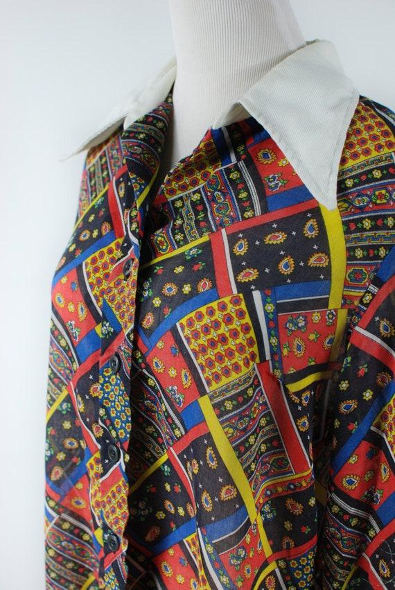 1960s 'Serbin' Patchwork Paisley Cotton Long-slee… - image 5