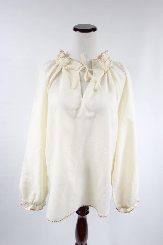 1970's Ivory Cotton Embroidered Ruffle Collar Lon… - image 2