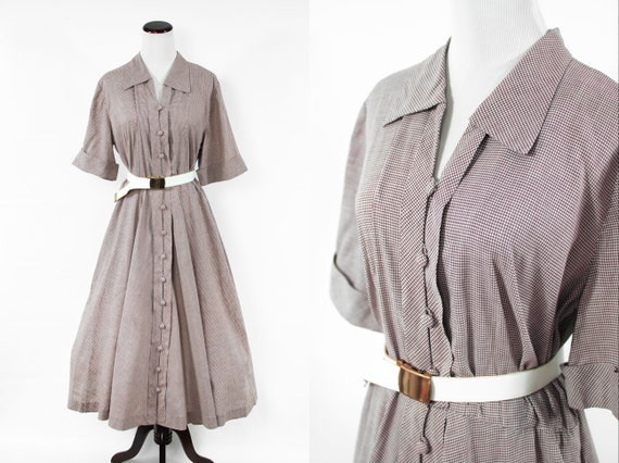 1950's Brown Gingham Cotton Short-sleeve Shirtdre… - image 1