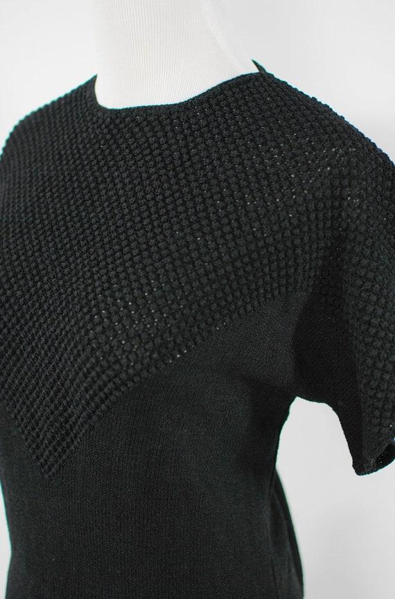 1940's Black Rayon Knit Blouse & Skirt Set - image 7