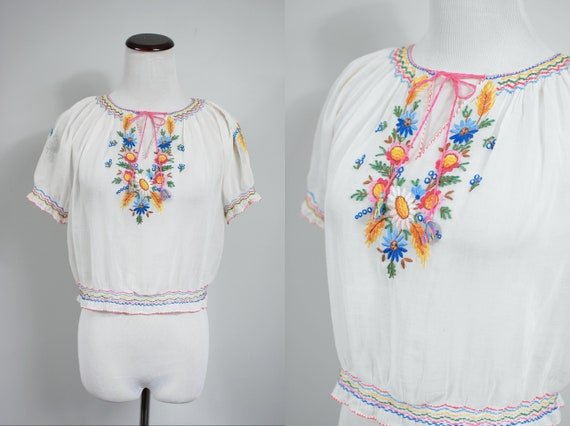 1930's White Cotton Floral Embroidered Hungarian P