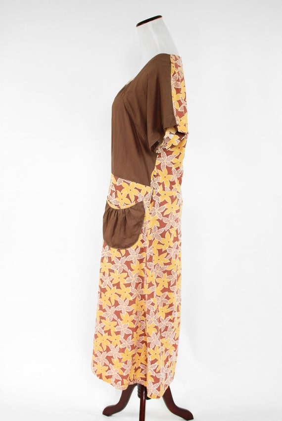 1930's Brown & Yellow Floral Feedsack Cotton Hous… - image 3