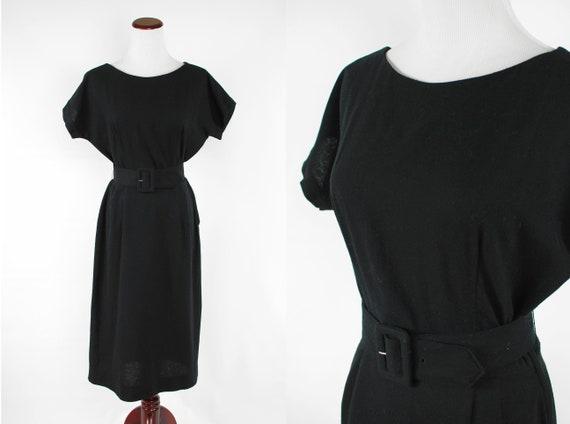 1950's Black Wool 'Carole King' Short-sleeve Belte