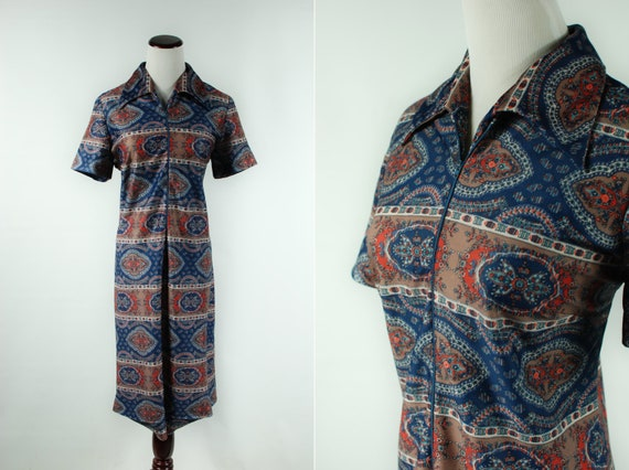 1970's Paisley Floral Zipper Short-sleeve Dress