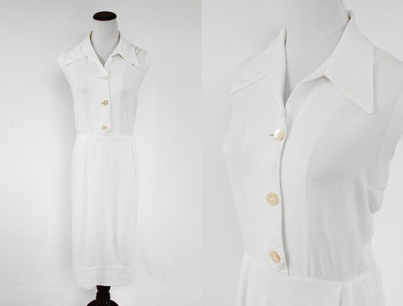 1950's White Sleeveless Button-up Dress