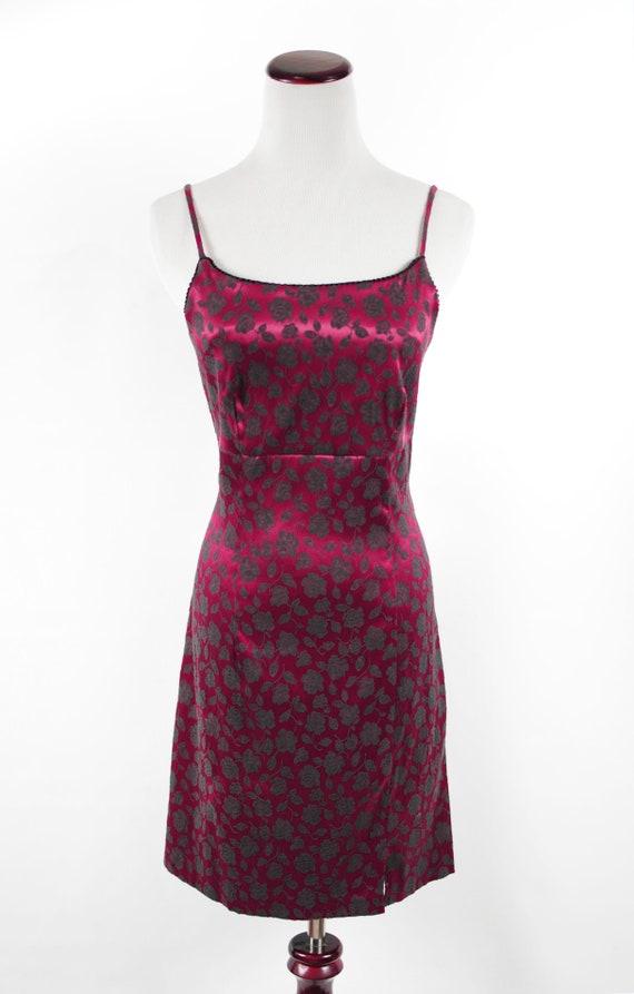 1990's Red Satin Rose Brocade Mini Slip Dress - image 2