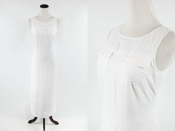 1990's White Linen Sleeveless Pocket Maxi Dress