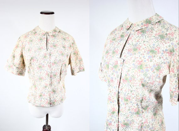 1960's Peter Pan Ditsy Floral Cotton Short-sleeve