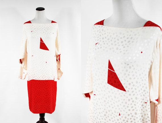 1980's 'Flora Kung' Red & Ivory Silk Geometric Pri