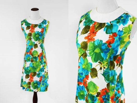 1960's Mod Floral Sleeveless Cotton Dress