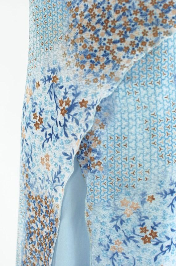 1990's Sky Blue Floral Slit Slip Dress - image 6
