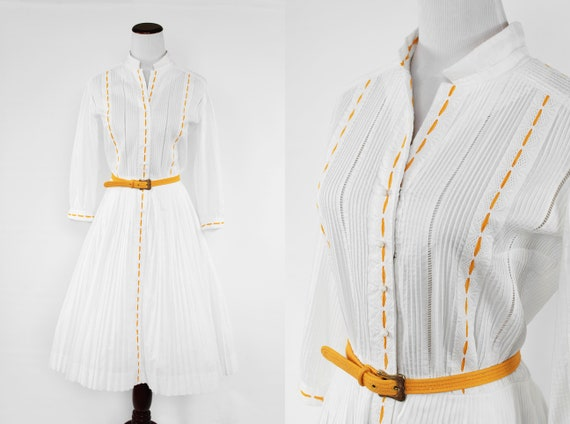 1950's White Cotton Long-sleeve Pleated Shirtdress
