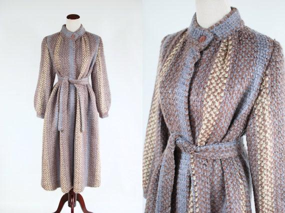 1980's Dusty Purple Striped Puff Sleeve Sweater Co