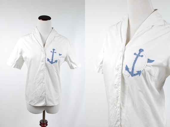 1950's White Cotton Nautical Anchor Short Sleeve B