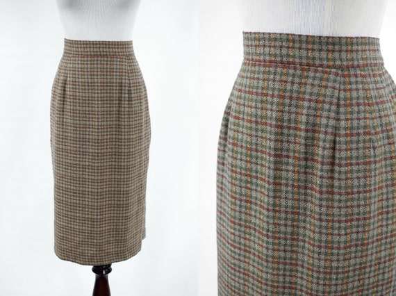 1990's 'Anne Klein' Silk & Wool Checkered High-wai
