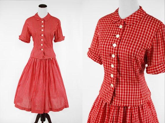 1940's Red Plaid Cotton Blouse & Skirt Set w/ Flow
