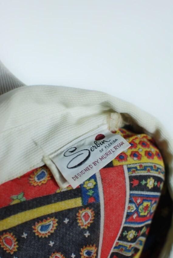 1960s 'Serbin' Patchwork Paisley Cotton Long-slee… - image 6