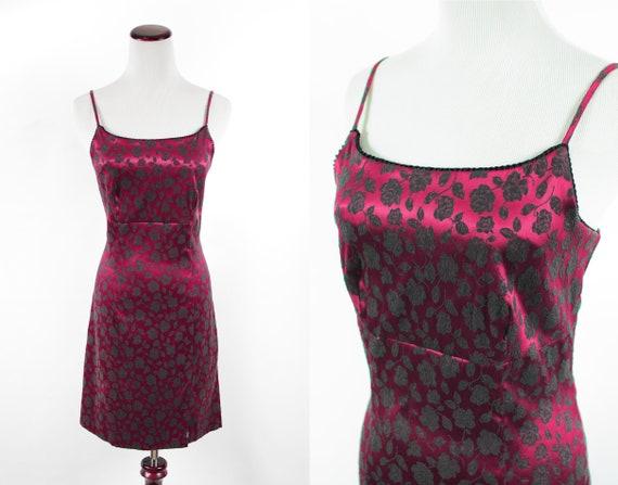 1990's Red Satin Rose Brocade Mini Slip Dress