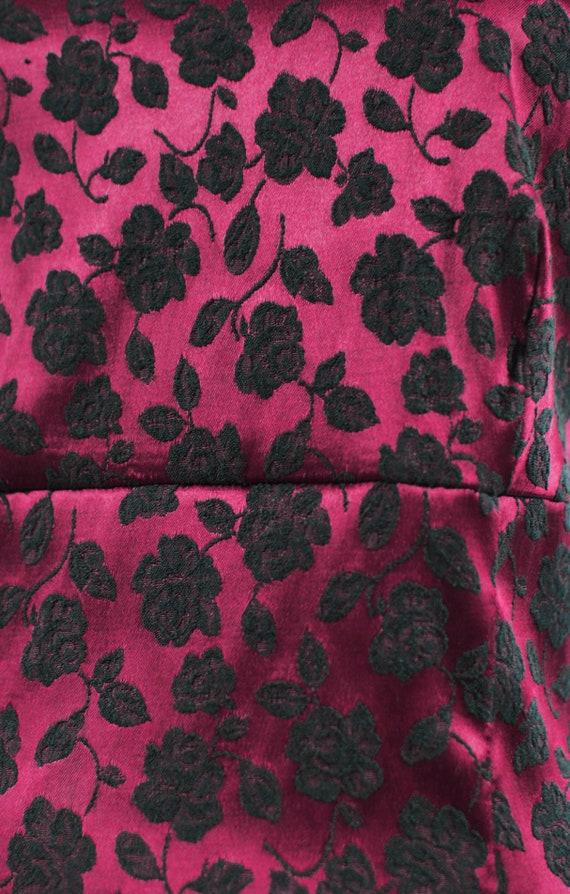 1990's Red Satin Rose Brocade Mini Slip Dress - image 7