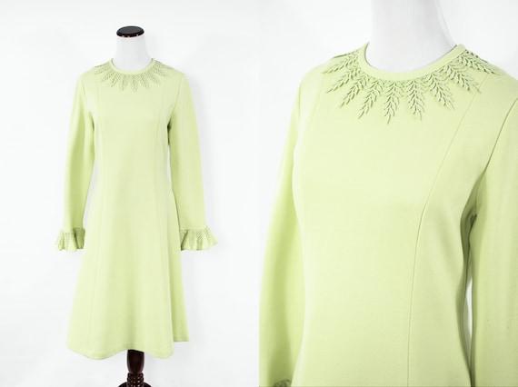 1960's Green Tea Wool-blend Ruffle Sleeve Leaf Tri