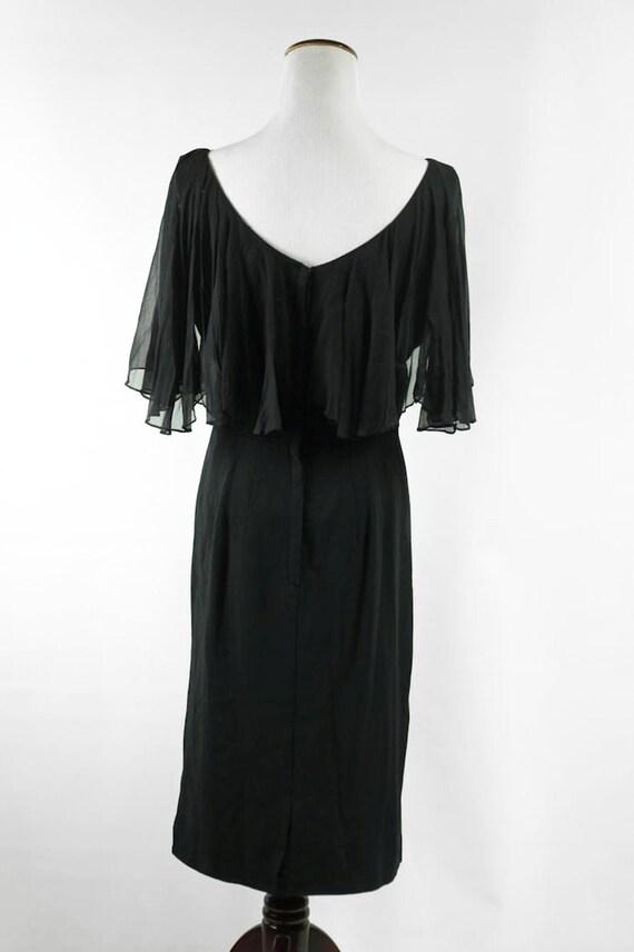1960's Black Beaded Flutter Sleeve Party Dress - image 4