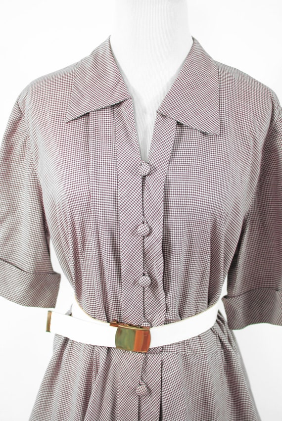1950's Brown Gingham Cotton Short-sleeve Shirtdre… - image 6