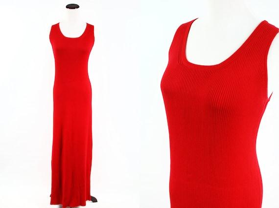 1990's Lipstick Red Rib-knit Cotton Maxi Tank Dres