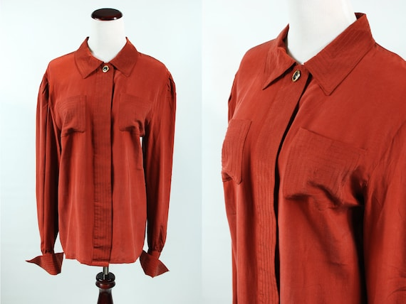 1980's Rust Silk Long-sleeve Button-up Blouse