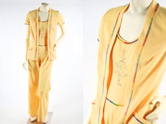 1970's Yellow Rainbow Stitched Jumpsuit & Jacket S
