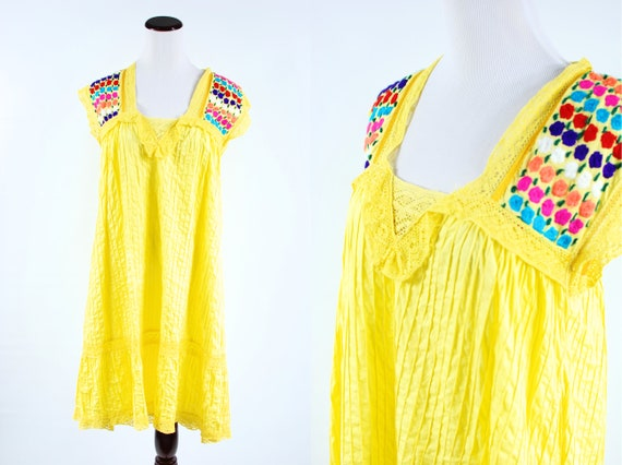 1970's Bright Yellow Cotton Floral Embroidered Pi… - image 1