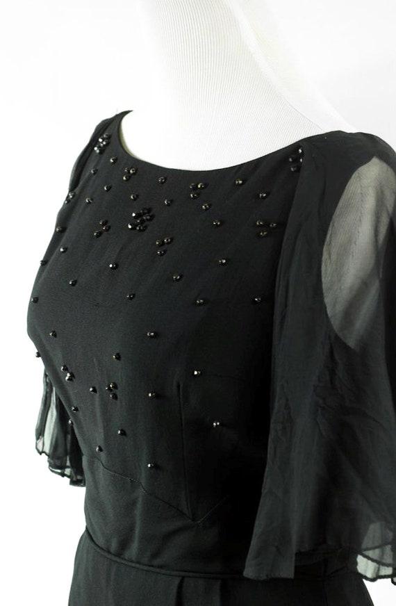 1960's Black Beaded Flutter Sleeve Party Dress - image 5