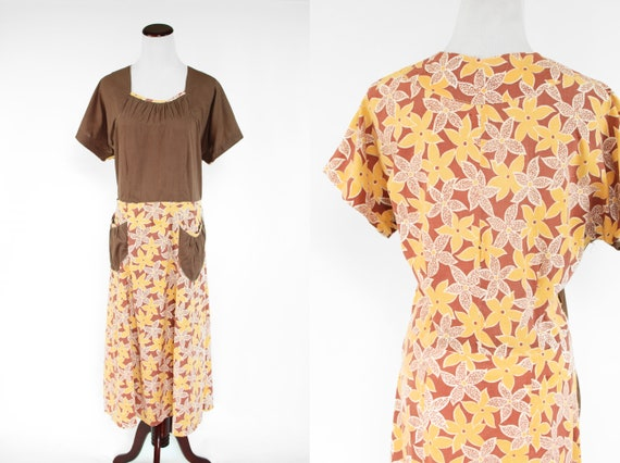 1930's Brown & Yellow Floral Feedsack Cotton House