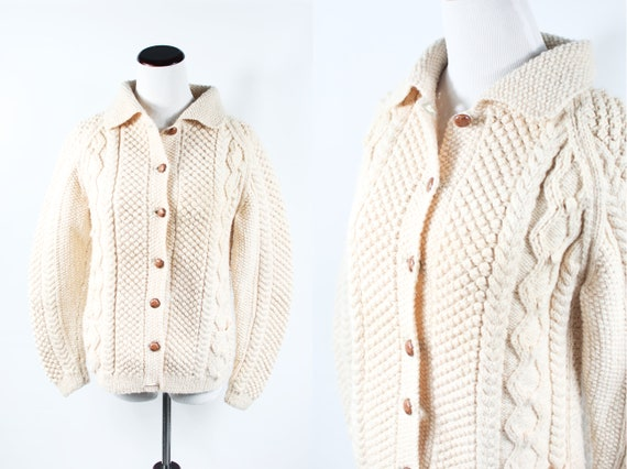 1960's Ivory Cable Knit Chunky Cardigan Sweater