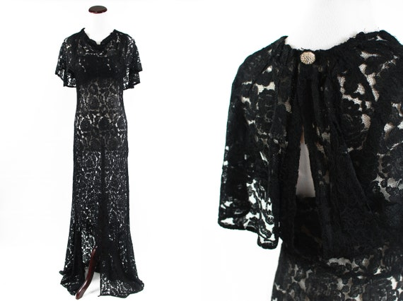 1930's Black Rose Lace Cape Collar Gown