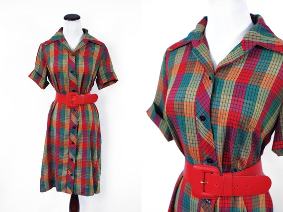 1960's Rainbow Plaid Short-sleeve Shift Shirtdress