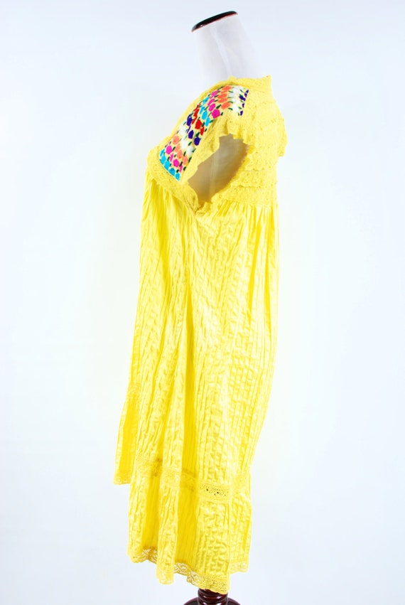 1970's Bright Yellow Cotton Floral Embroidered Pi… - image 3