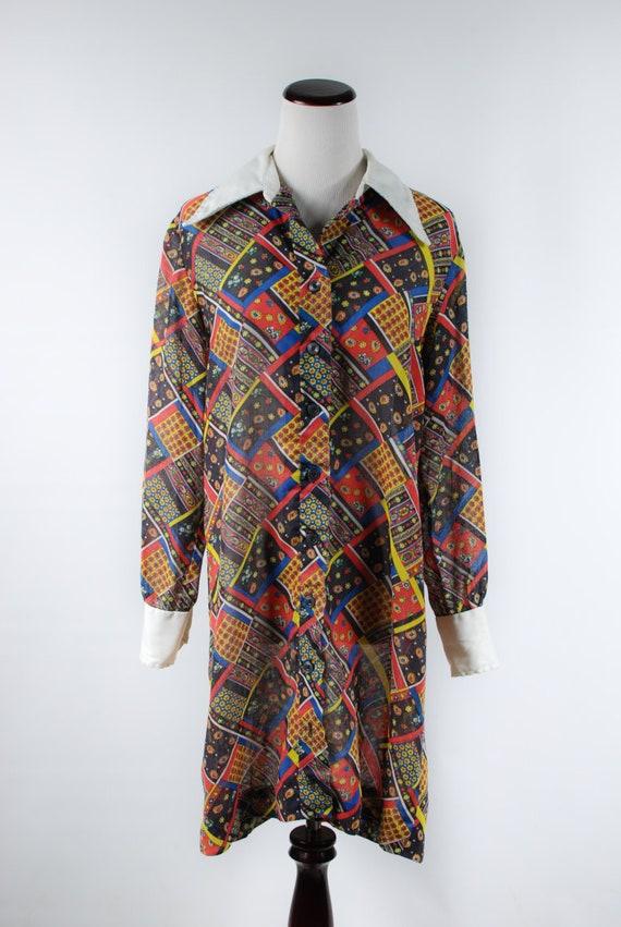 1960s 'Serbin' Patchwork Paisley Cotton Long-slee… - image 2