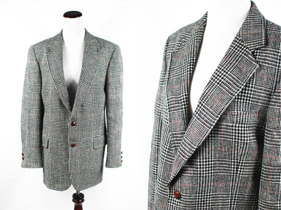 1980's Wool Black & White Houndstooth Oversized Bl