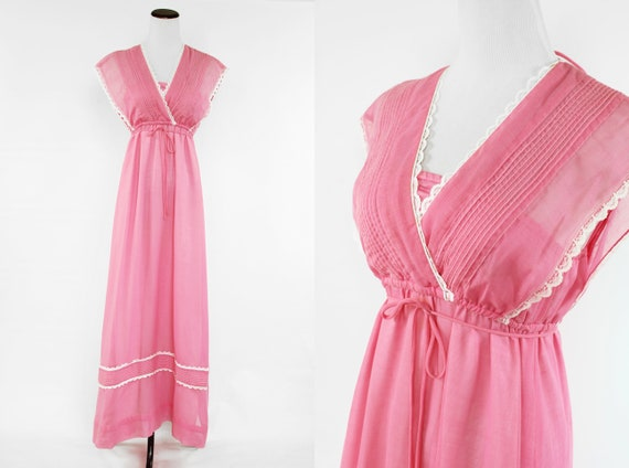 1970's Bubblegum Pink Lace Strappy Maxi Dress